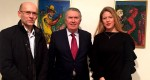HE Mr. Ognjen Pribicevic, Serbian Ambassador to the UK, Sir Paul Judge, Chairman of the British-Serbian Chamber of Commerce and Patron of Cambridge Judge Business School and Miss Dana Marinkovic, artist and the daughter of Cile Marinkovic