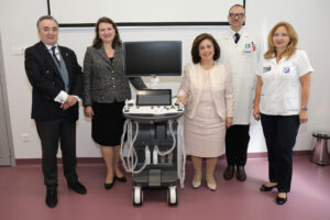 Donation to the Institute for Oncology and Radiology of Serbia: HRH Crown Princess Katherine with late Prof. Dr Radan Džodić, Director of the Institute, HE Ambassador of Canada Ms. Kathleen Csaba and Dr Ana Jovićević, March 2019