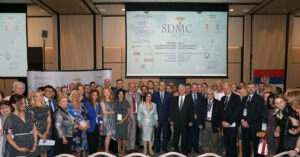 Solemn opening of the 10th Serbian Diaspora Medical Conference – TRH Crown Prince Alexander and Crown Princess Katherine with HE the Minister of Health, Dr. Zlatibor Lončar, Prof. Dr. Afksendiyos Kalangos, Prof. Dr. Nebojsa Lalic, Dean of the Medical Faculty of the University of Belgrade, members of the Royal Medical Board and Mrs. Betty Roumeliotis, Crown Princess' sister